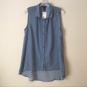 ❤️H&M Blue & White sleeveless sheer shirt, $Firm